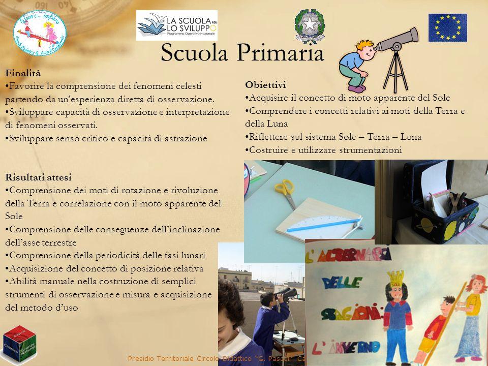 Scuola Primaria Presidio Territoriale Circolo Didattico G. Pascoli Castellaneta (TA) Finalità Favorire la comprensione dei fenomeni celesti partendo d