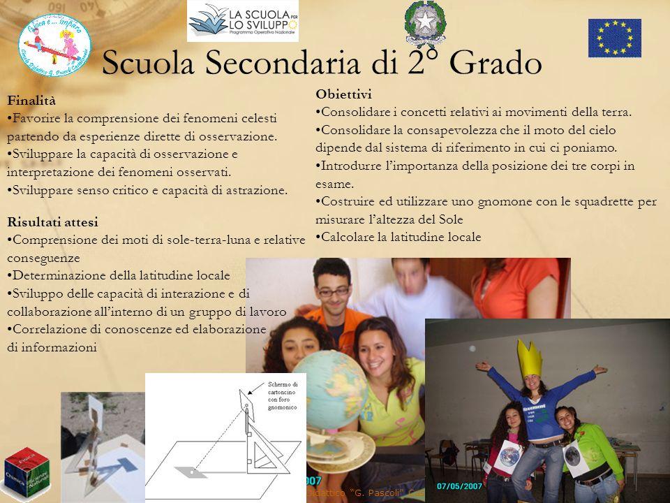 Scuola Secondaria di 2° Grado Presidio Territoriale Circolo Didattico G. Pascoli Castellaneta (TA) Finalità Favorire la comprensione dei fenomeni cele