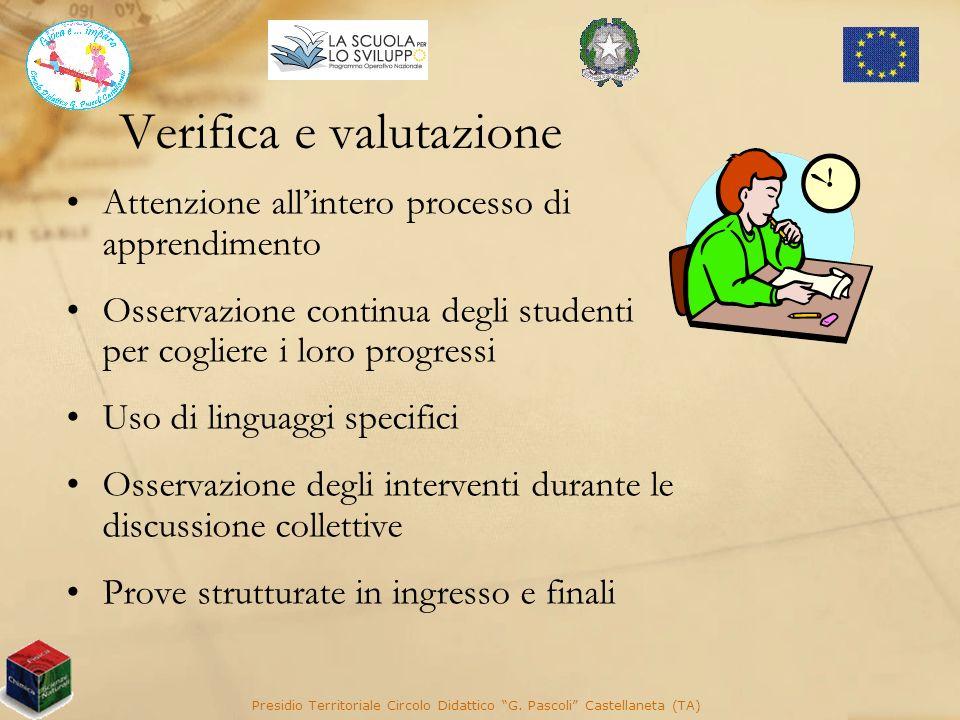 Verifica e valutazione Presidio Territoriale Circolo Didattico G. Pascoli Castellaneta (TA) Attenzione allintero processo di apprendimento Osservazion