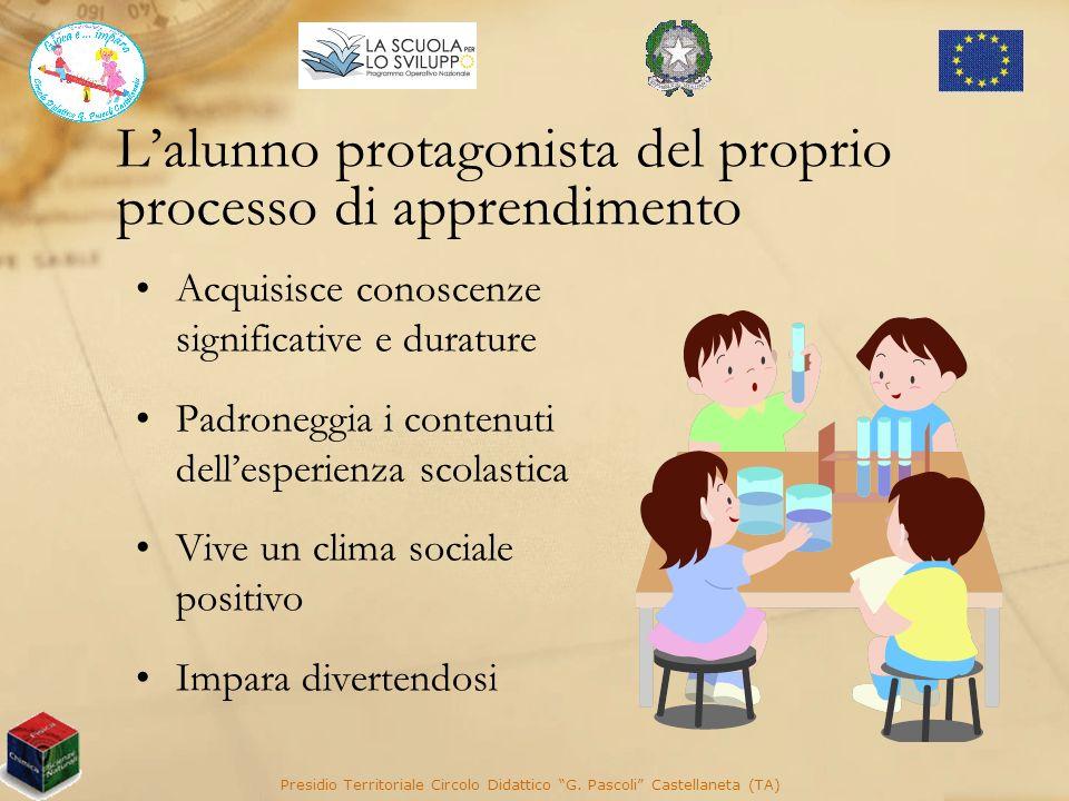 Lalunno protagonista del proprio processo di apprendimento Acquisisce conoscenze significative e durature Padroneggia i contenuti dellesperienza scola