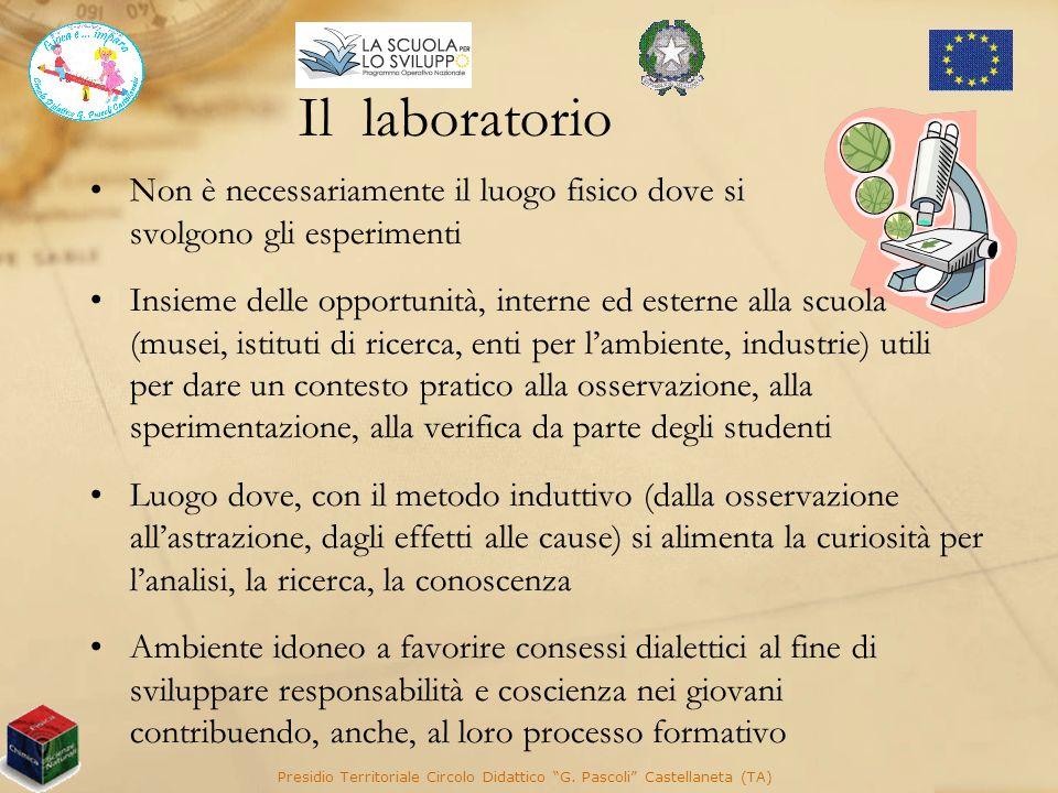 Il laboratorio Presidio Territoriale Circolo Didattico G. Pascoli Castellaneta (TA) Non è necessariamente il luogo fisico dove si svolgono gli esperim