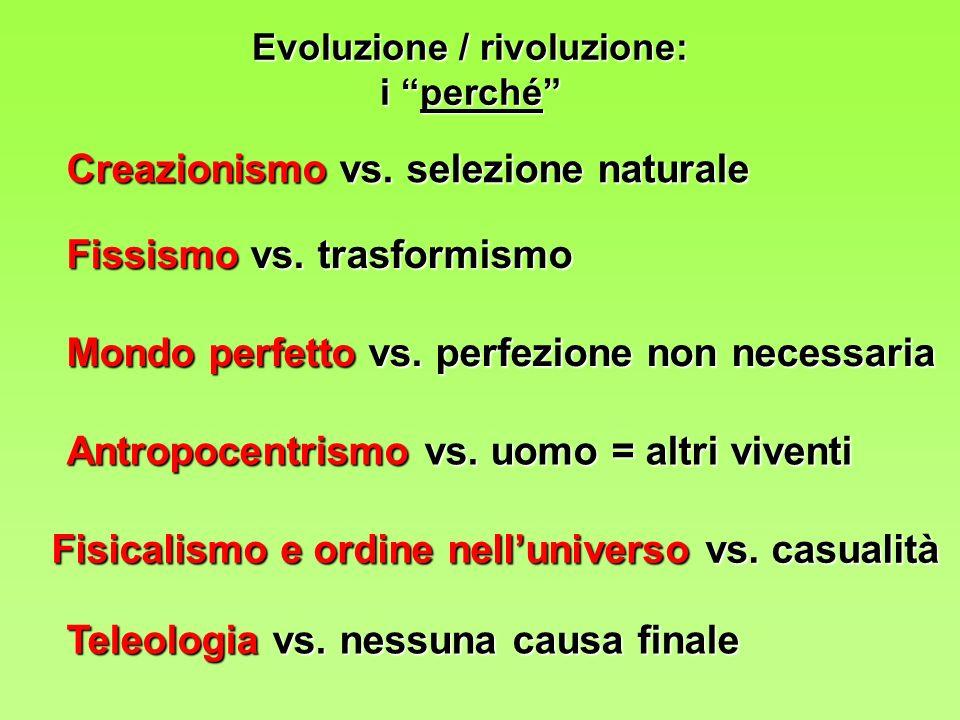 Evoluzione / rivoluzione: i perché Creazionismo vs.