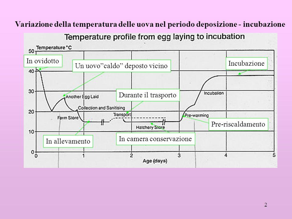 2 In ovidotto In allevamento In camera conservazione Durante il trasporto Un uovocaldo deposto vicino Pre-riscaldamento Incubazione Variazione della t