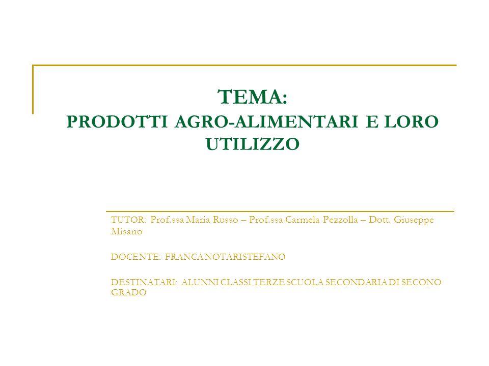 TEMA: PRODOTTI AGRO-ALIMENTARI E LORO UTILIZZO TUTOR: Prof.ssa Maria Russo – Prof.ssa Carmela Pezzolla – Dott. Giuseppe Misano DOCENTE: FRANCA NOTARIS