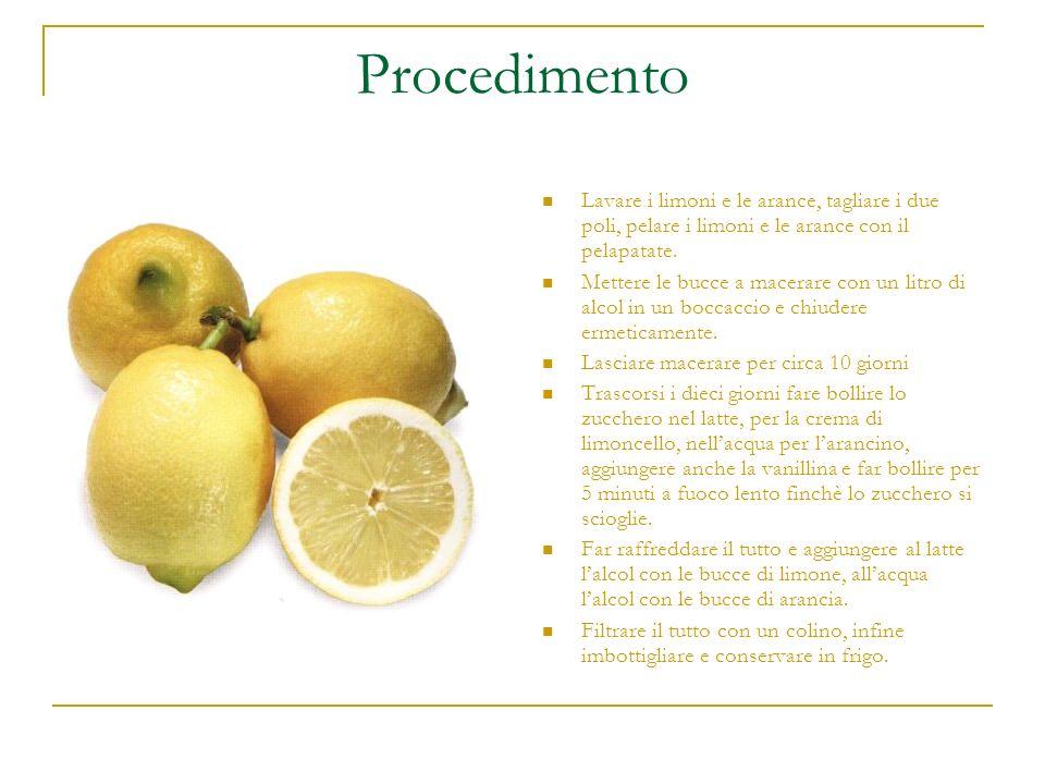 Procedimento Lavare i limoni e le arance, tagliare i due poli, pelare i limoni e le arance con il pelapatate. Mettere le bucce a macerare con un litro