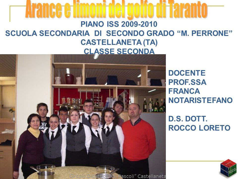 PIANO ISS 2009-2010 SCUOLA SECONDARIA DI SECONDO GRADO M. PERRONE CASTELLANETA (TA) CLASSE SECONDA DOCENTE PROF.SSA FRANCA NOTARISTEFANO D.S. DOTT. RO
