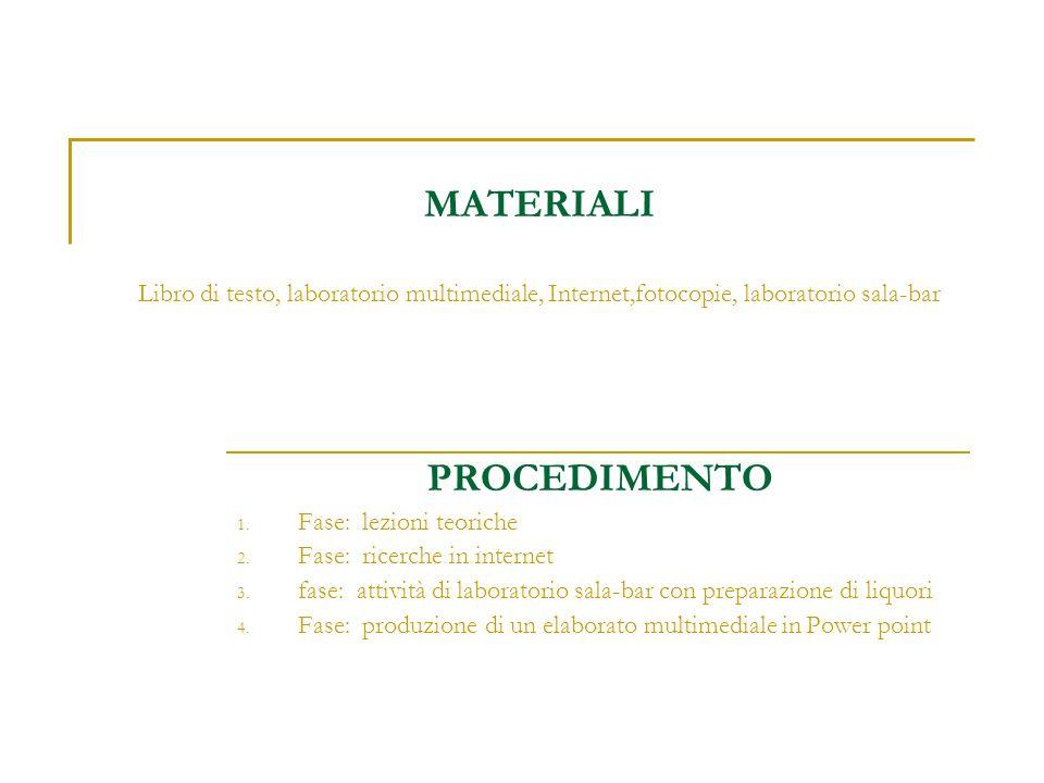 MATERIALI Libro di testo, laboratorio multimediale, Internet,fotocopie, laboratorio sala-bar PROCEDIMENTO 1. Fase: lezioni teoriche 2. Fase: ricerche