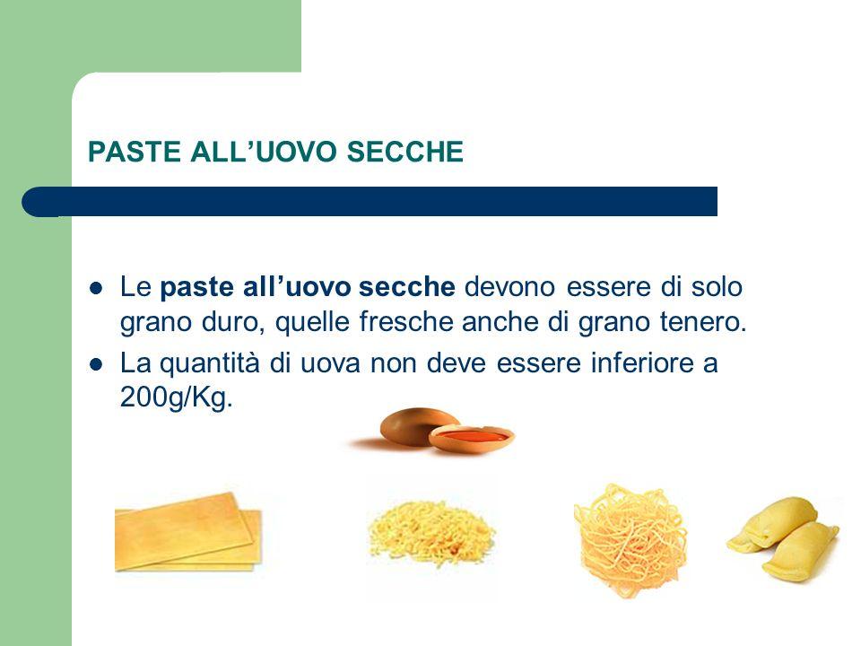 PASTE ALLUOVO SECCHE Le paste alluovo secche devono essere di solo grano duro, quelle fresche anche di grano tenero. La quantità di uova non deve esse