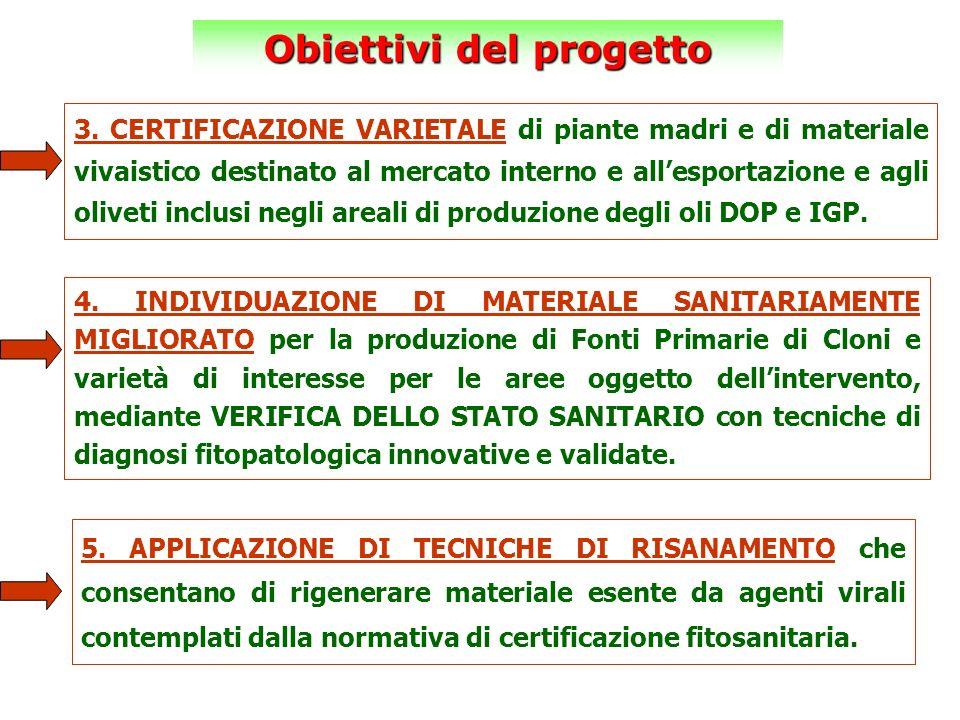 Obiettivi del progetto 3. CERTIFICAZIONE VARIETALE di piante madri e di materiale vivaistico destinato al mercato interno e allesportazione e agli oli
