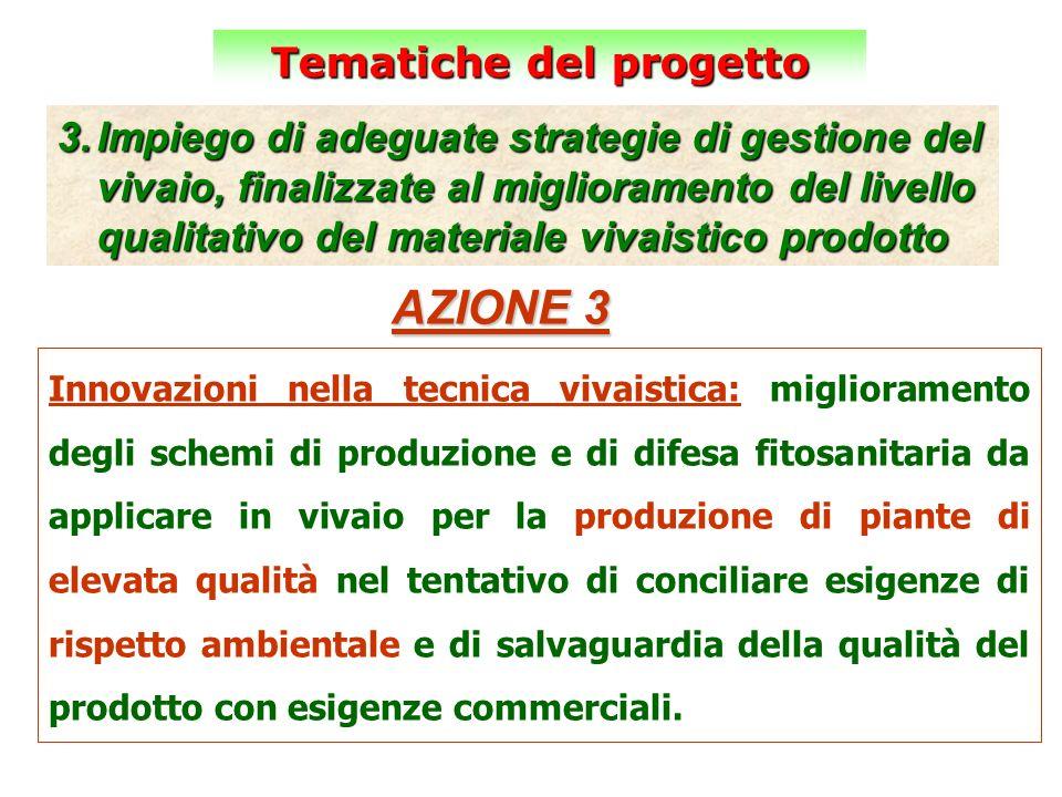 Tematiche del progetto 3.Impiego di adeguate strategie di gestione del vivaio, finalizzate al miglioramento del livello qualitativo del materiale viva