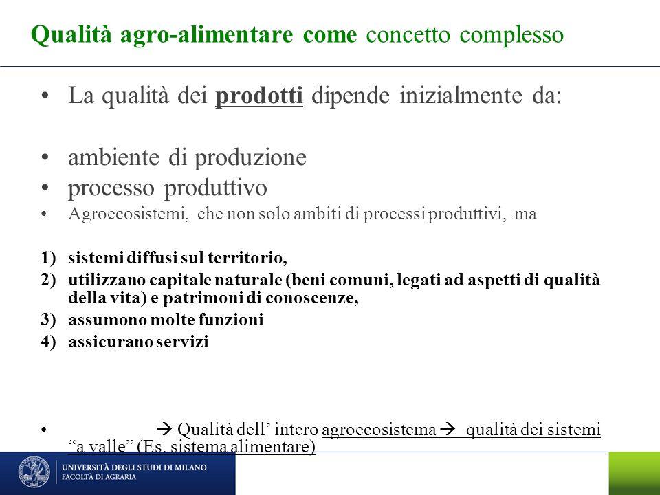 Qualità agro-alimentare come concetto complesso La qualità dei prodotti dipende inizialmente da: ambiente di produzione processo produttivo Agroecosis