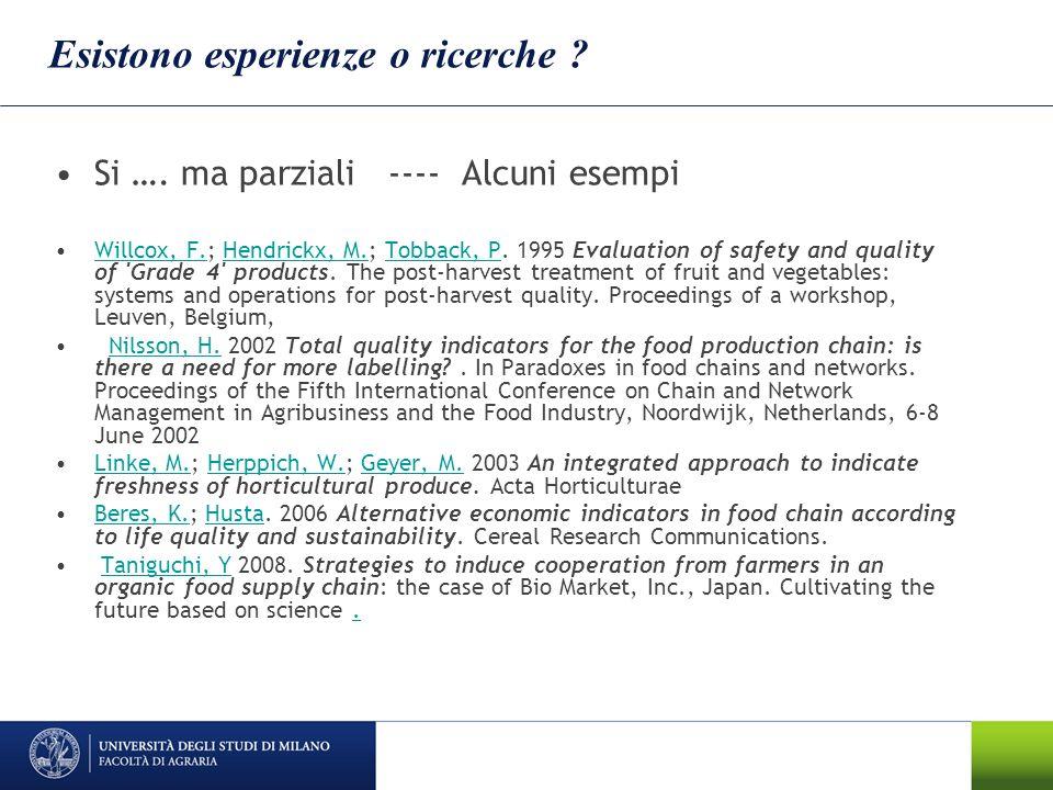 Esistono esperienze o ricerche ? Si …. ma parziali ---- Alcuni esempi Willcox, F.; Hendrickx, M.; Tobback, P. 1995 Evaluation of safety and quality of