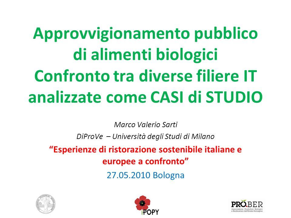 Approvvigionamento pubblico di alimenti biologici Confronto tra diverse filiere IT analizzate come CASI di STUDIO Marco Valerio Sarti DiProVe – Univer