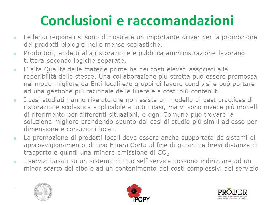 Conclusioni e raccomandazioni Le leggi regionali si sono dimostrate un importante driver per la promozione dei prodotti biologici nelle mense scolasti