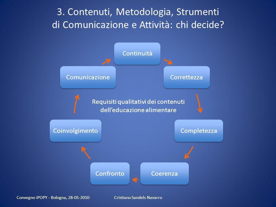 3. Contenuti, Metodologia, Strumenti di Comunicazione e Attività: chi decide? Cristiano Sandels Navarro Regioni Province Enti locali UUSSRR - Scuole M
