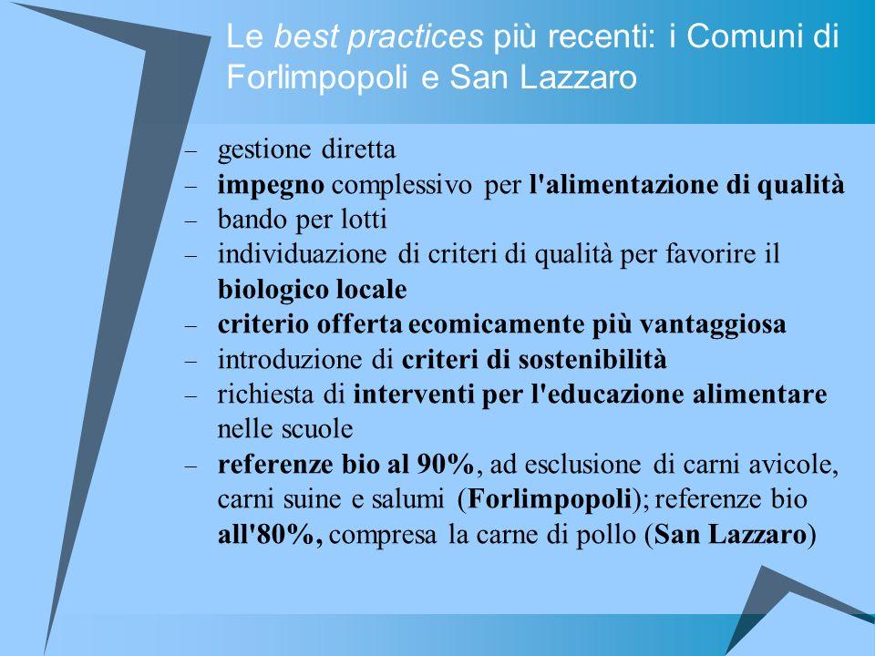 Le best practices più recenti: i Comuni di Forlimpopoli e San Lazzaro gestione diretta impegno complessivo per l'alimentazione di qualità bando per lo