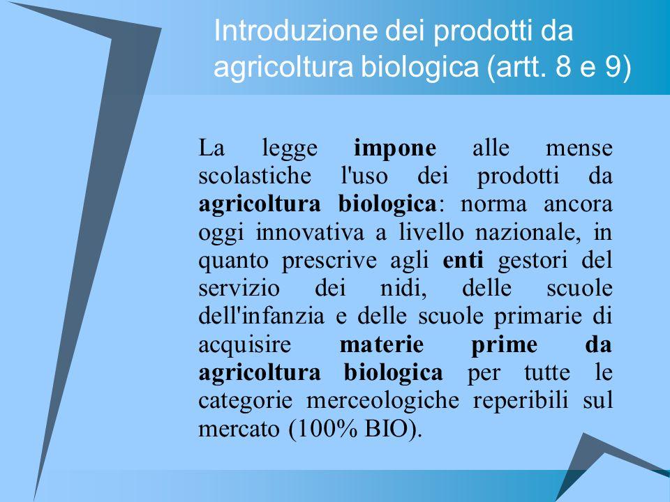 La legge impone alle mense scolastiche l'uso dei prodotti da agricoltura biologica: norma ancora oggi innovativa a livello nazionale, in quanto prescr
