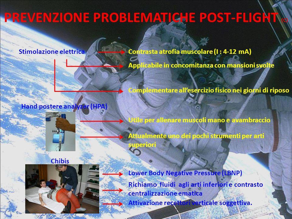 PREVENZIONE PROBLEMATICHE POST-FLIGHT (C) Stimolazione elettricaContrasta atrofia muscolare (I : 4-12 mA) Applicabile in concomitanza con mansioni svo