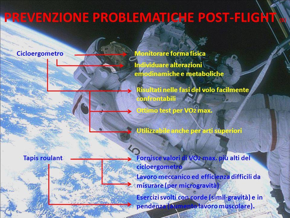 PREVENZIONE PROBLEMATICHE POST-FLIGHT (B) CicloergometroMonitorare forma fisica Individuare alterazioni emodinamiche e metaboliche Risultati nelle fas