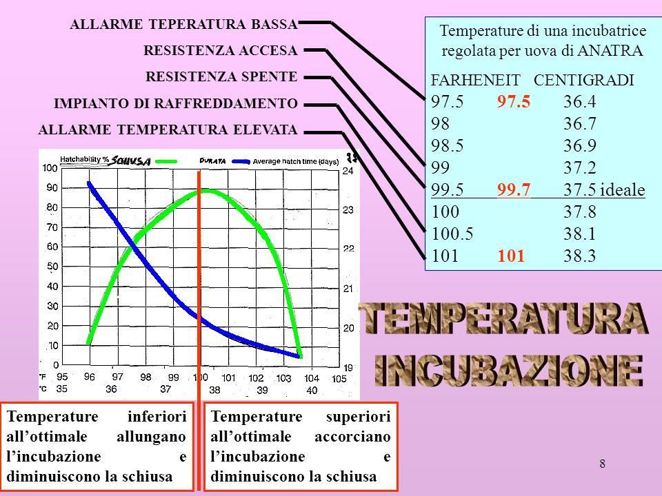 8 Temperature superiori allottimale accorciano lincubazione e diminuiscono la schiusa Temperature inferiori allottimale allungano lincubazione e dimin