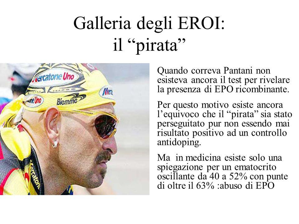 Galleria degli EROI: il pirata Quando correva Pantani non esisteva ancora il test per rivelare la presenza di EPO ricombinante.