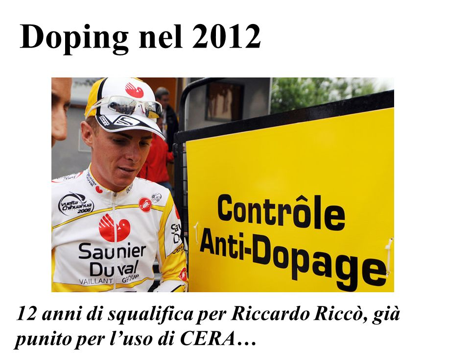 Doping nel 2012 12 anni di squalifica per Riccardo Riccò, già punito per luso di CERA…
