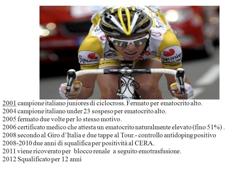 2001 campione italiano juniores di ciclocross. Fermato per ematocrito alto.