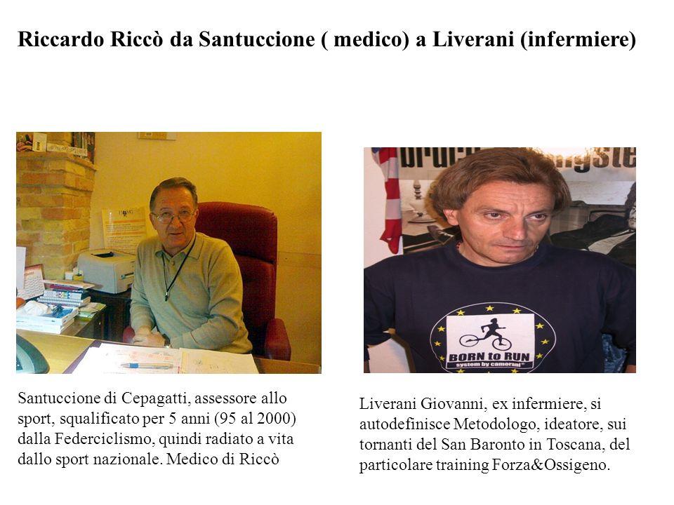 Riccardo Riccò da Santuccione ( medico) a Liverani (infermiere) Santuccione di Cepagatti, assessore allo sport, squalificato per 5 anni (95 al 2000) dalla Federciclismo, quindi radiato a vita dallo sport nazionale.