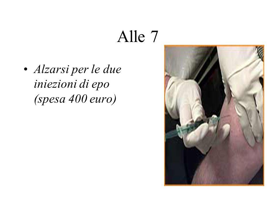 Alle 7 Alzarsi per le due iniezioni di epo (spesa 400 euro)