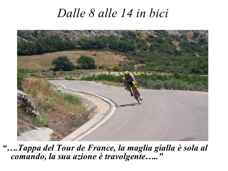 Dalle 8 alle 14 in bici ….Tappa del Tour de France, la maglia gialla è sola al comando, la sua azione è travolgente…..