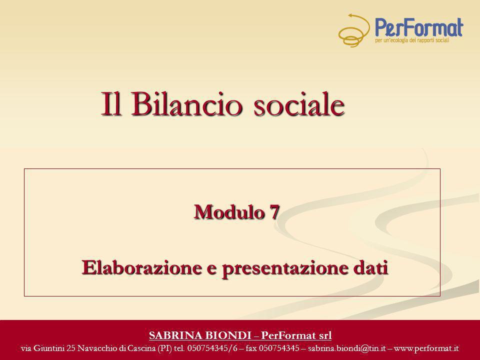 Il Bilancio sociale Modulo 7 Elaborazione e presentazione dati Modulo 7 Elaborazione e presentazione dati SABRINA BIONDI – PerFormat srl via Giuntini