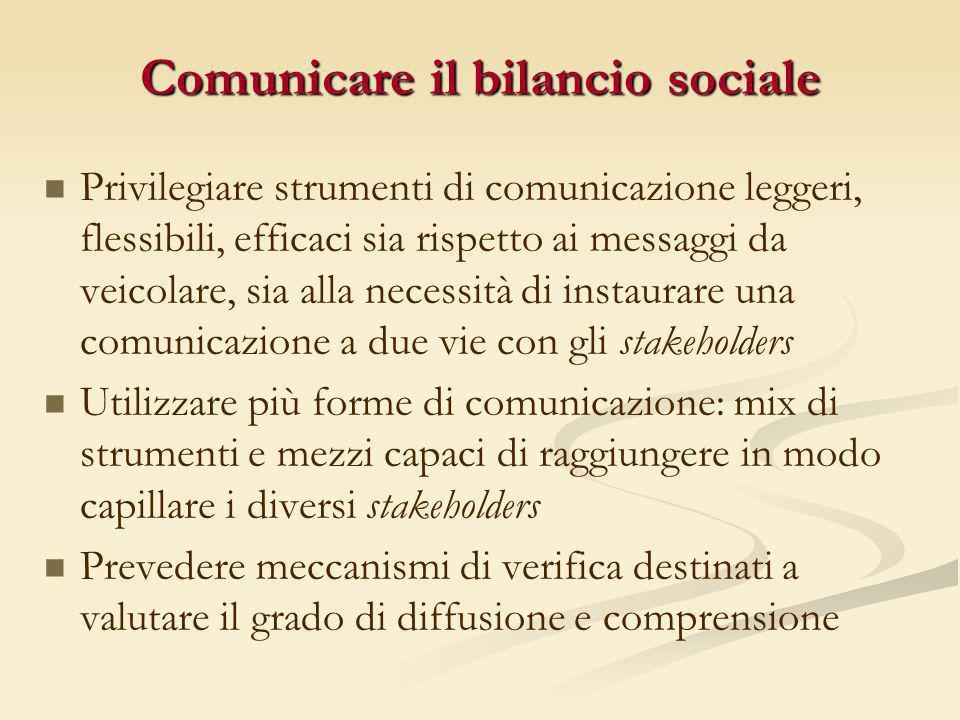 Comunicare il bilancio sociale Privilegiare strumenti di comunicazione leggeri, flessibili, efficaci sia rispetto ai messaggi da veicolare, sia alla n