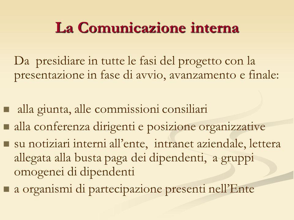 La Comunicazione interna Da presidiare in tutte le fasi del progetto con la presentazione in fase di avvio, avanzamento e finale: alla giunta, alle co