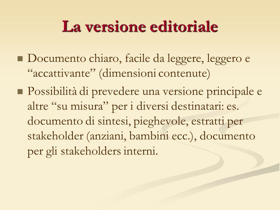 La versione editoriale Documento chiaro, facile da leggere, leggero e accattivante (dimensioni contenute) Possibilità di prevedere una versione princi