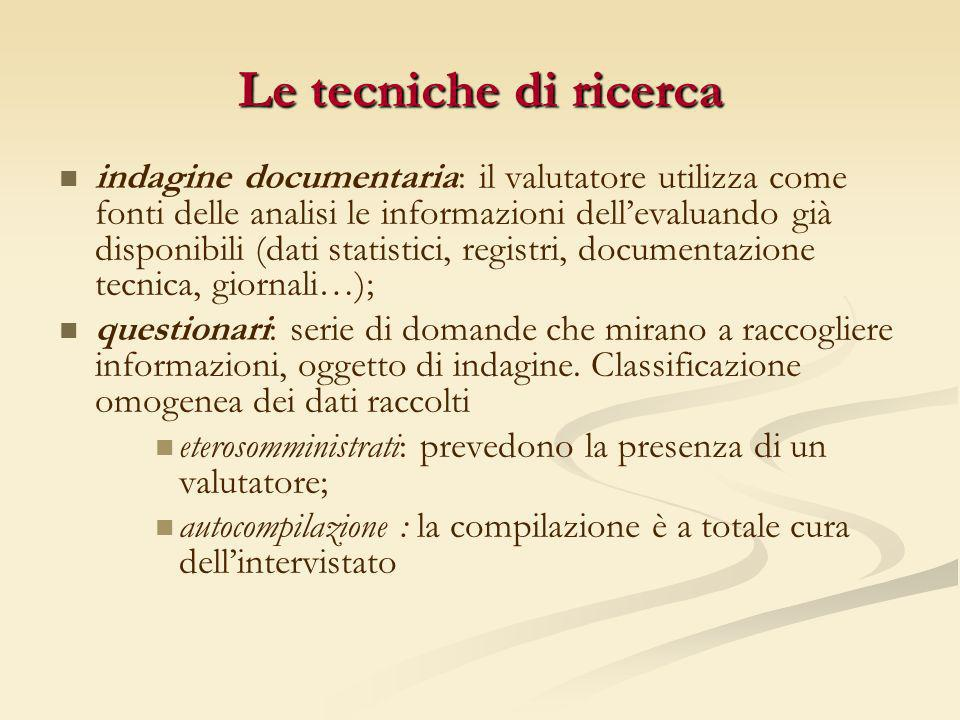 indagine documentaria: il valutatore utilizza come fonti delle analisi le informazioni dellevaluando già disponibili (dati statistici, registri, docum