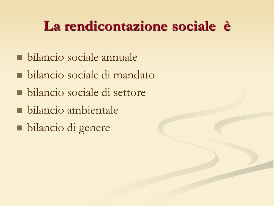 bilancio sociale annuale bilancio sociale di mandato bilancio sociale di settore bilancio ambientale bilancio di genere La rendicontazione sociale è