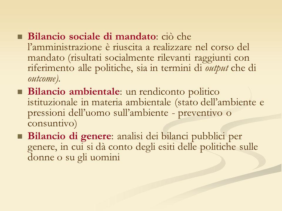 Bilancio sociale di mandato: ciò che lamministrazione è riuscita a realizzare nel corso del mandato (risultati socialmente rilevanti raggiunti con riferimento alle politiche, sia in termini di output che di outcome).