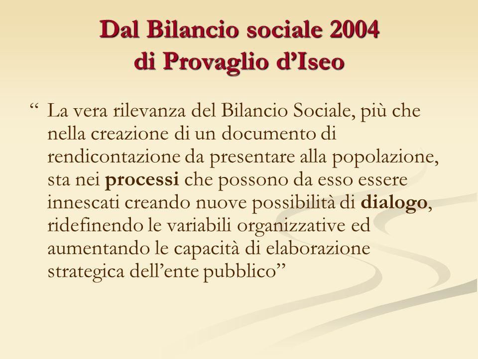 Dal Bilancio sociale 2004 di Provaglio dIseo La vera rilevanza del Bilancio Sociale, più che nella creazione di un documento di rendicontazione da pre