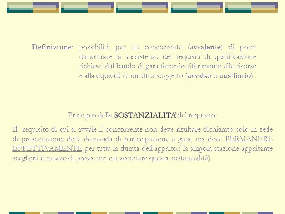 Avvalimento (Art. 48 Direttiva 18/2004 e art. 49 e 50 D.Lgs. 163/2006)