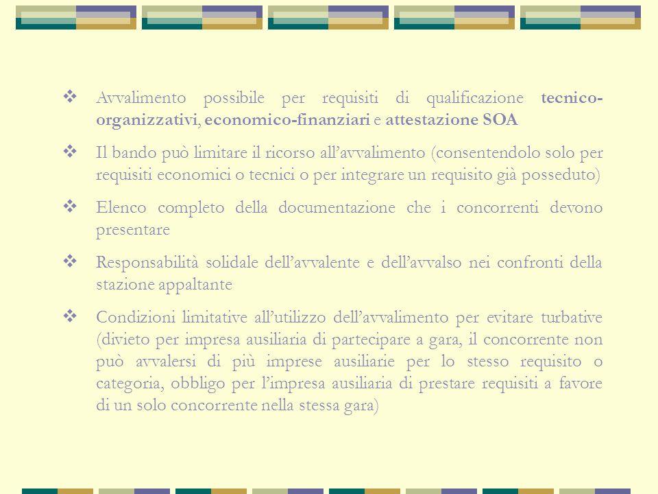 Definizione:possibilità per un concorrente (avvalente) di poter dimostrare la sussistenza dei requisiti di qualificazione richiesti dal bando di gara