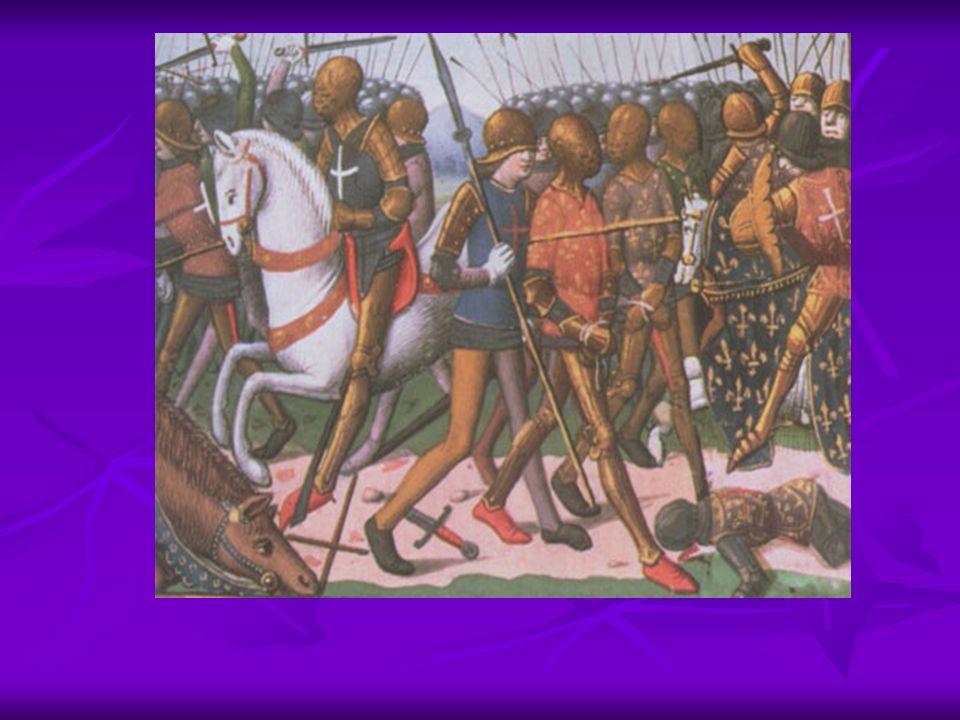 Dans la panique face aux volées de flèches, beaucoup de chevaliers chutent de cheval.