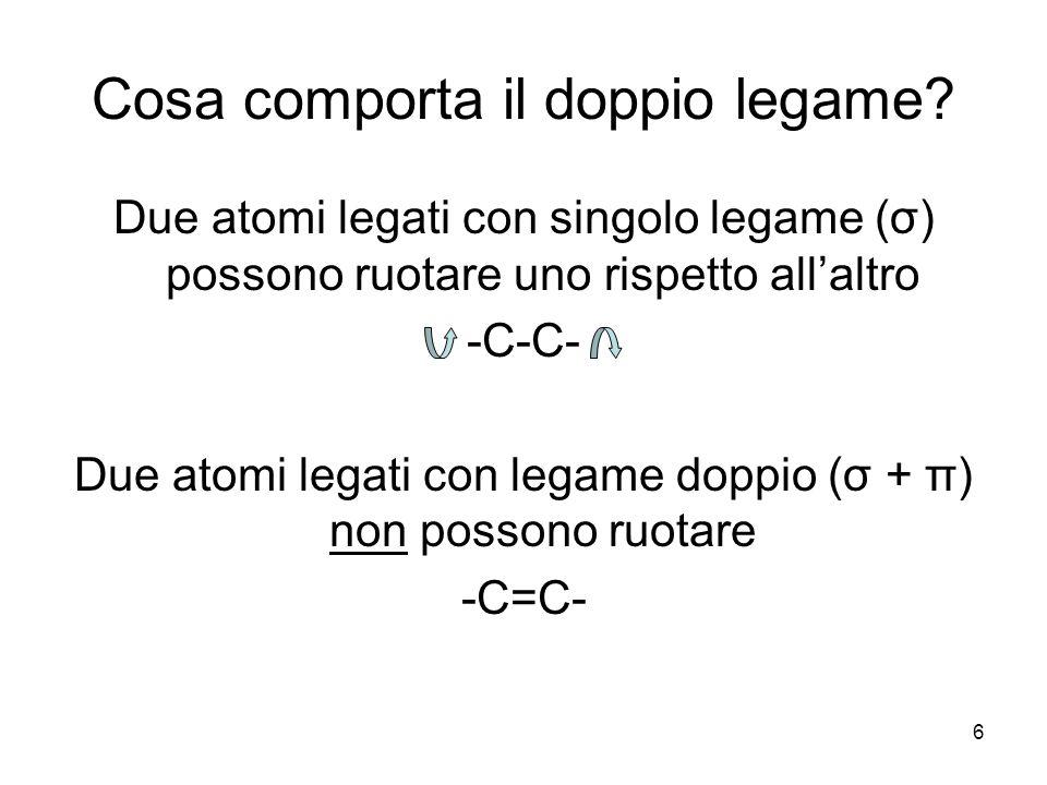 7 Isomeria cis-trans Il doppio legame impedisce la rotazione dei due atomi di carbonio perciò possiamo avere due configurazioni.