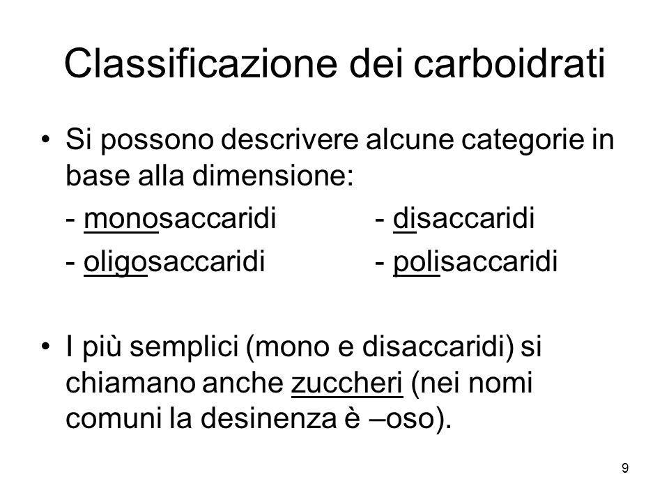 9 Classificazione dei carboidrati Si possono descrivere alcune categorie in base alla dimensione: - monosaccaridi- disaccaridi - oligosaccaridi- polis