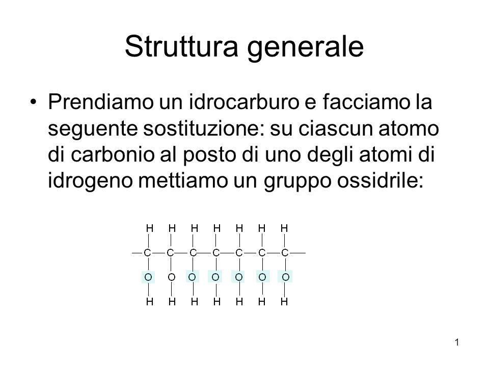 1 Struttura generale Prendiamo un idrocarburo e facciamo la seguente sostituzione: su ciascun atomo di carbonio al posto di uno degli atomi di idrogen