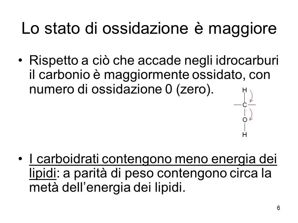 6 Lo stato di ossidazione è maggiore Rispetto a ciò che accade negli idrocarburi il carbonio è maggiormente ossidato, con numero di ossidazione 0 (zer