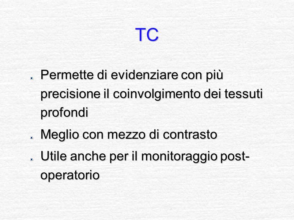 TC Permette di evidenziare con più precisione il coinvolgimento dei tessuti profondi Meglio con mezzo di contrasto Utile anche per il monitoraggio pos
