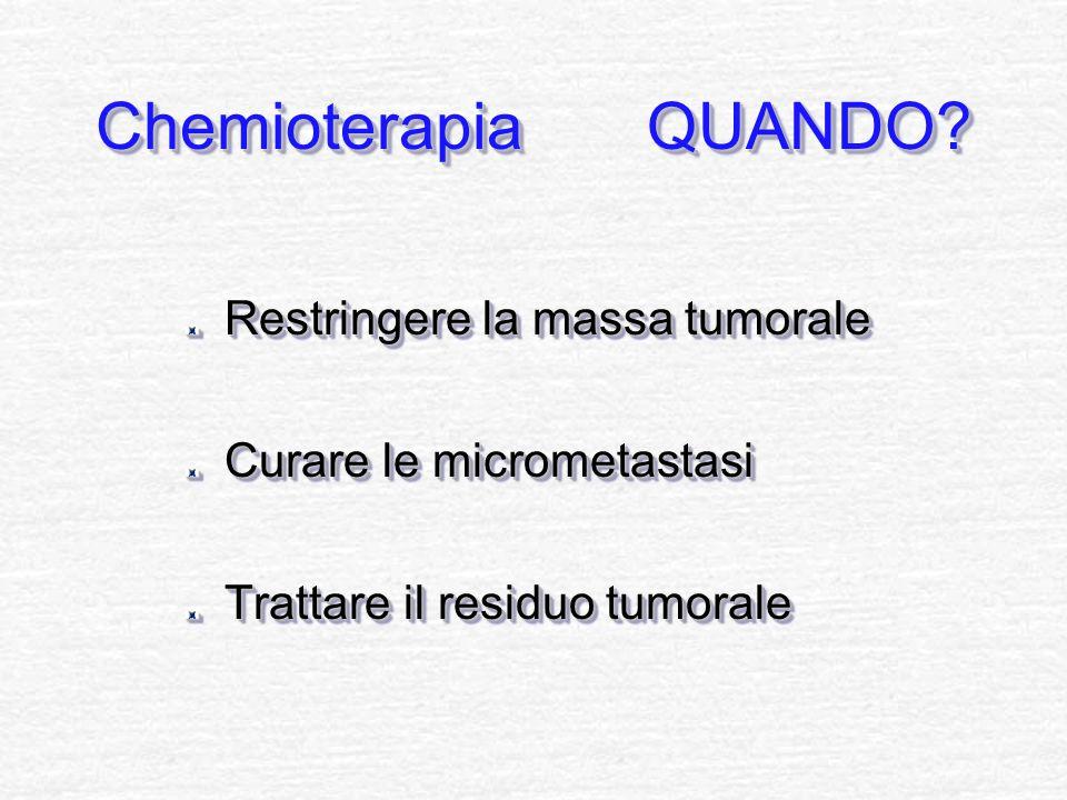 Chemioterapia QUANDO? Restringere la massa tumorale Curare le micrometastasi Trattare il residuo tumorale Restringere la massa tumorale Curare le micr