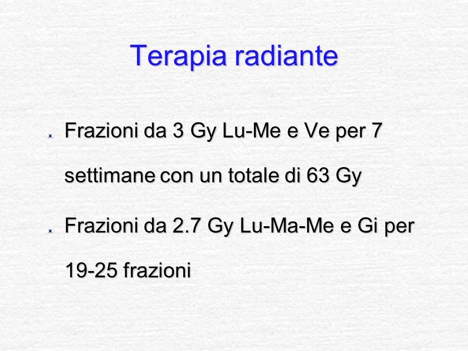 Terapia radiante Frazioni da 3 Gy Lu-Me e Ve per 7 settimane con un totale di 63 Gy Frazioni da 2.7 Gy Lu-Ma-Me e Gi per 19-25 frazioni