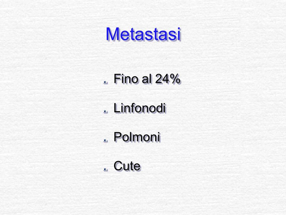 MetastasiMetastasi Fino al 24% LinfonodiPolmoniCute LinfonodiPolmoniCute