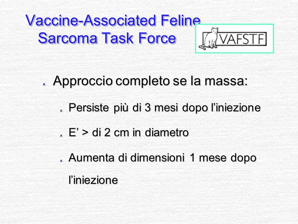 Approccio completo se la massa: Persiste più di 3 mesi dopo liniezione E > di 2 cm in diametro Aumenta di dimensioni 1 mese dopo liniezione Vaccine-As